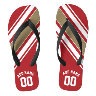 Sports Jersey Red and Gold Stripes Name Number Flip Flops