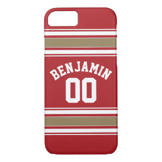 Sports Jersey Red and Gold Stripes Name Number iPhone 8/7 Case