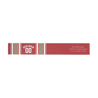 Sports Jersey Red and Gold Stripes Name Number Wrap Around Label