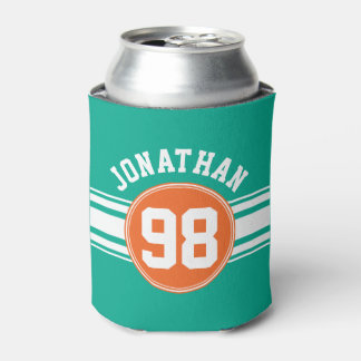 Sports Jersey Stripes Emerald & Orange Name Number Can Cooler
