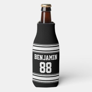 Sports Jersey Stripes - Personalized Name Number Bottle Cooler