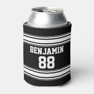 Sports Jersey Stripes - Personalized Name Number Can Cooler