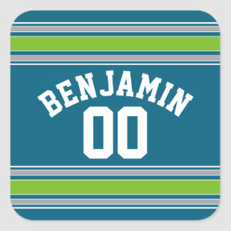 Sports Jersey Teal and Green Stripes Name Number Square Sticker