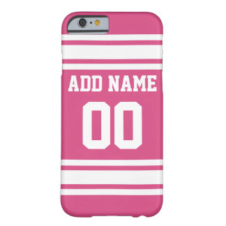 Sports Jersey with Name and Number - Pink White Barely There iPhone 6 Case