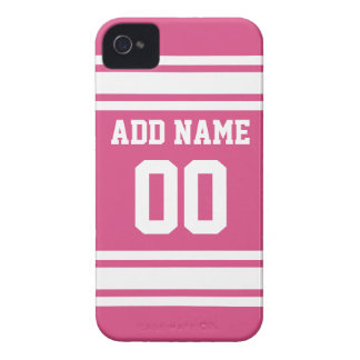 Sports Jersey with Name and Number - Pink White Case-Mate iPhone 4 Case
