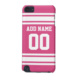 Sports Jersey with Name and Number - Pink White iPod Touch 5G Case