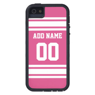 Sports Jersey with Name and Number - Pink White iPhone 5 Cover