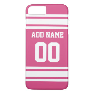 Sports Jersey with Name and Number - Pink White iPhone 8 Plus/7 Plus Case