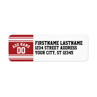 Sports Jersey with Your Name and Number Return Address Label