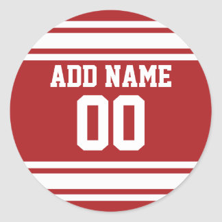 Sports Jersey with Your Name and Number Round Sticker