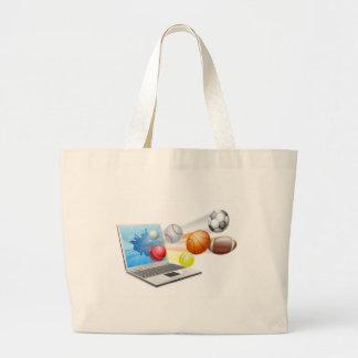 Sports laptop app concept canvas bag