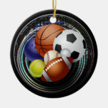 Sports lover Double-Sided ceramic round christmas ornament