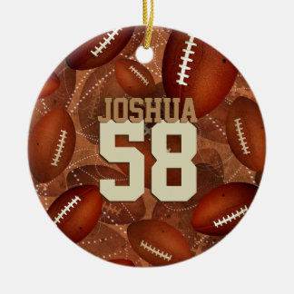 Sports pattern Footballz! his name jersey number Christmas Ornament