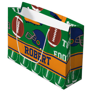 SPORTS Personalize Football Pattern for Children Large Gift Bag