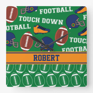 SPORTS Personalize Football Pattern for Children Square Wall Clock