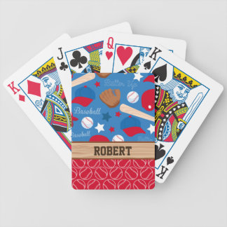 SPORTS Personalize Name Baseball Fan Fun Pattern Bicycle Playing Cards