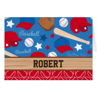SPORTS Personalize Name Baseball Fan Fun Pattern Card