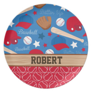 SPORTS Personalize Name Baseball Fan Fun Pattern Dinner Plates