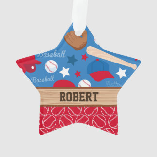SPORTS Personalize Name Baseball Fan Fun Pattern Ornament