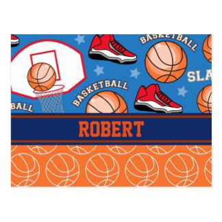 SPORTS Personalize Name Basketball Fan Fun Pattern Postcard