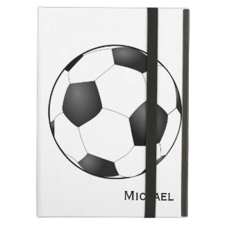 Sports Soccer Ball Optional Custom Name iPad Air Cover
