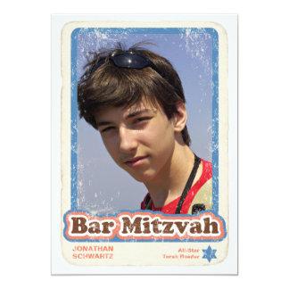 """Sports Star Bar Mitzvah Invitation 5"""" X 7"""" Invitation Card"""