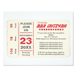Sports Star Bar Mitzvah Reception Card, Red 11 Cm X 14 Cm Invitation Card