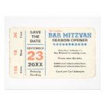 Sports Star Bar Mitzvah Save the Date Card, Blue Custom Invitation