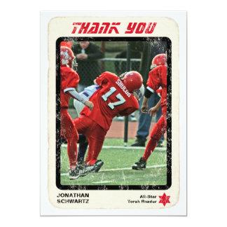 Sports Star Bar Mitzvah Thank You Card, Red Card