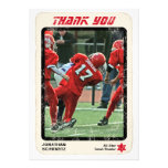 Sports Star Bar Mitzvah Thank You Card, Red Personalized Invitations