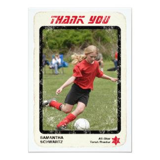 Sports Star Bat Mitzvah Thank You Card, Red Card