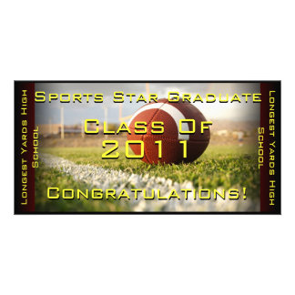 Sports Star (Football) - Graduation Card Personalized Photo Card