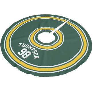 Sports Striped Jersey Dark Green Yellow Number Brushed Polyester Tree Skirt