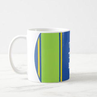 SPORTS STRIPES - Blue Green Yellow + your text Basic White Mug