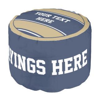 Sports Stripes Button II + your text Round Pouf