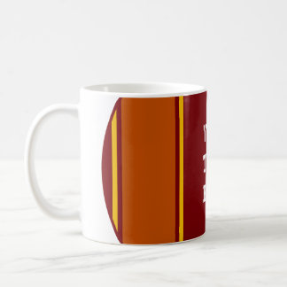 SPORTS STRIPES - Dark Red Yellow + your text Basic White Mug