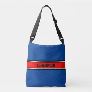 SPORTS STRIPES - fire red, black, white Crossbody Bag