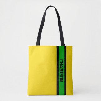 SPORTS STRIPES - green, black, white Tote Bag