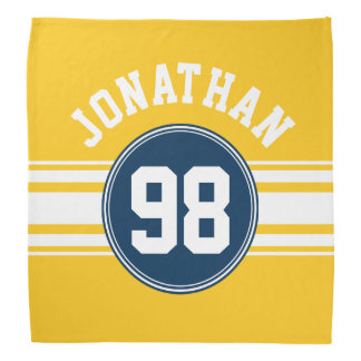 Sports Stripes Navy Blue & Yellow Name Number Head Kerchiefs