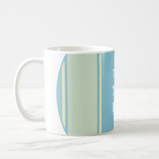SPORTS STRIPES - Pastel Blue Yellow + your text Basic White Mug
