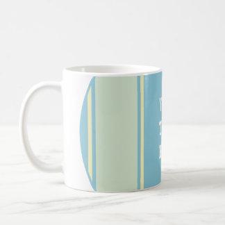 SPORTS STRIPES - Pastel Blue Yellow + your text Coffee Mug