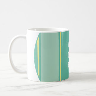 SPORTS STRIPES - Pastel Green Yellow + your text Basic White Mug