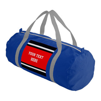 SPORTS STRIPES - Red Black White + your text Gym Duffel Bag