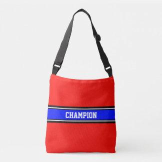 SPORTS STRIPES - royal blue, black, white Crossbody Bag