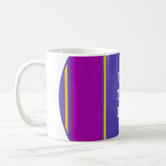 SPORTS STRIPES - Violet Plum Yellow + your text Basic White Mug