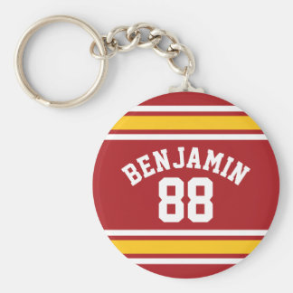 Sports Team Football Jersey Custom Name Number Basic Round Button Key Ring