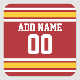 Sports Team Football Jersey Custom Name Number Square Sticker