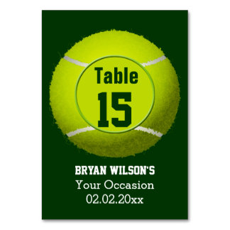 Sports Tennis theme Personalized table numbers Table Card
