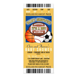 Sports Theme (blue/yellow) Party Baby Shower 10 Cm X 24 Cm Invitation Card