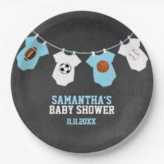 Sports Theme Chalkboard Blue Boy Baby Shower 9 Inch Paper Plate